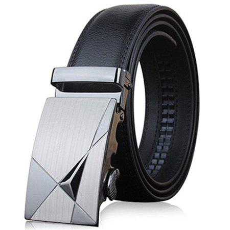 Cheap Stylish Triangle Shape Embellished Metal Buckle Black Wide Belt For Men