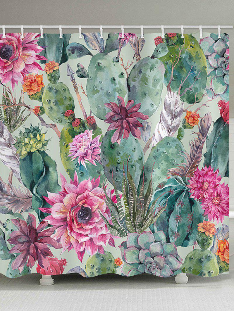 Online Flowers Succulents Print Waterproof Bathroom Shower Curtain