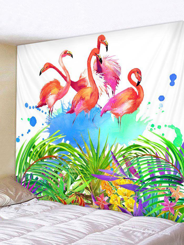 Discount Flamingo Leaf Pattern Tapestry Hanging Decor