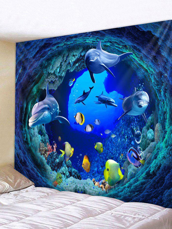 Sale Sea Tunnel Fish Pattern Tapestry Hanging Decor
