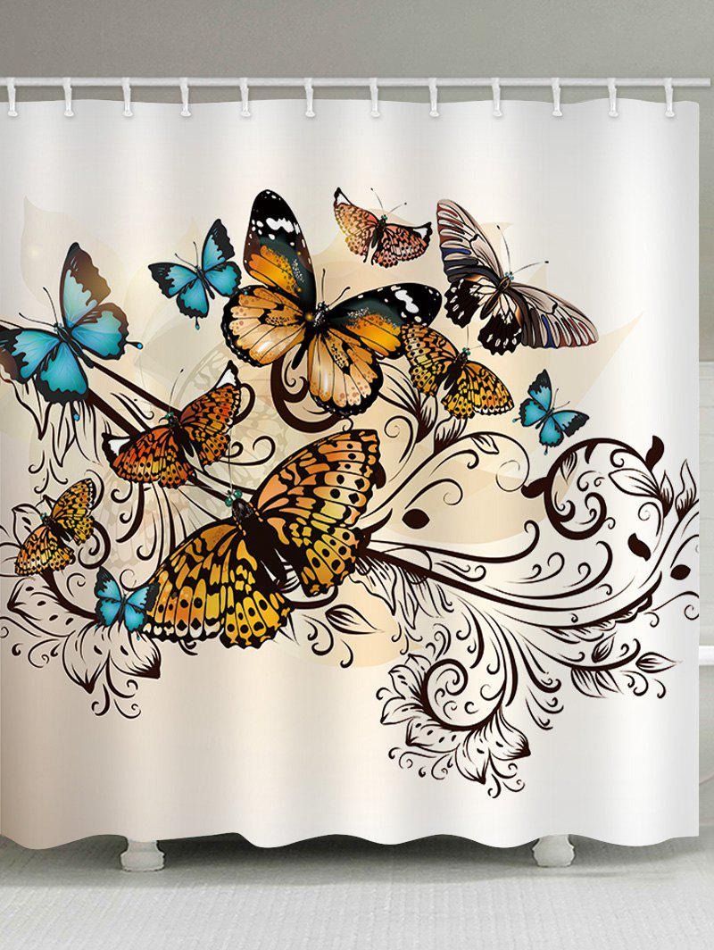 Chic Butterflies Print Waterproof Bathroom Shower Curtain