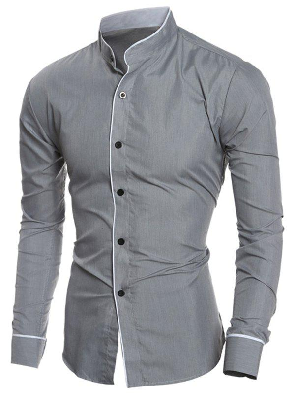 Fashion Edging Design Long Sleeve Grandad Chinese Collar Shirt