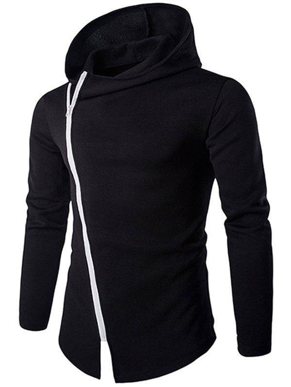 Trendy Stylish Diagonal Zipper Design Long Sleeve Hoodies For Men