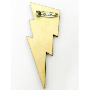 Best Man Wood Lightning Sign Groomsman Brooch -