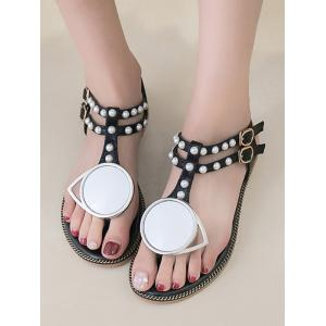 Faux Pearl PU Leather T Strap Sandals -