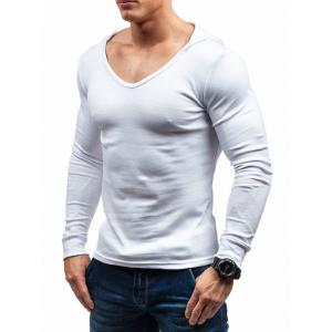 Solid Color Hooded Long Sleeve T-shirt -