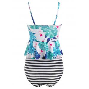 Flower Striped Peplum Tankini Set -