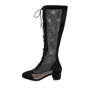 Lace Up Crisscross Low Heel Hollow Out Mid Calf Boots -