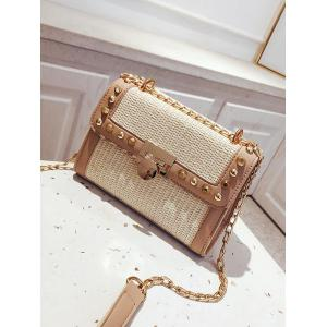Straw Splicing Flapped Studs Sling Bag -