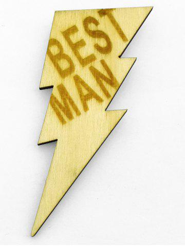 Sale Best Man Wood Lightning Sign Groomsman Brooch