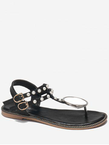 Outfit Faux Pearl PU Leather T Strap Sandals