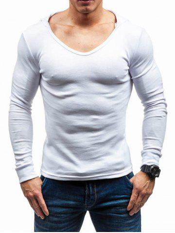 Slim Fit Solid Color Hooded T shirt