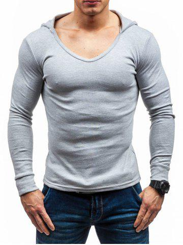 Buy Solid Color Hooded Long Sleeve T-shirt