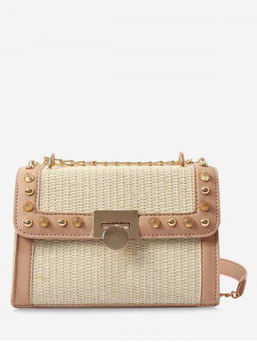 New Straw Splicing Flapped Studs Sling Bag