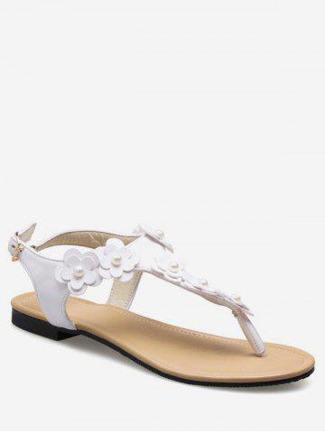 Plus Size Buckled Flat Heel Flower Leisure Thong Sandals