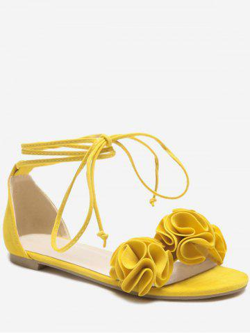Plus Size Flower Flat Heel Tie Up Sandals