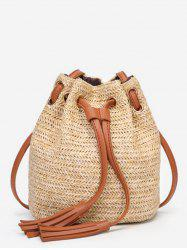 String Straw Tassels Decorated Color Block Crossbody Bag -
