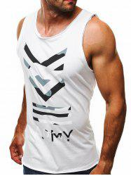 Camouflage Letter Print Tank Top -