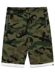 Zip Pockets Camo Panel Casual Shorts -