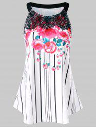 Flower Stripe Swing Tank Top -