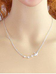 Flying Dove Faux Pearl Pendant Necklace -