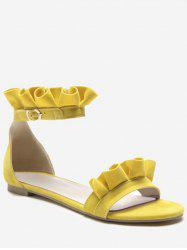 Plus Size Daily Casual Flat Heel Ruffled Decorated Sandals -