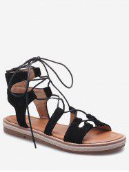 Plus Size Cut Out Outdoor Travel Lace Up Sandals -