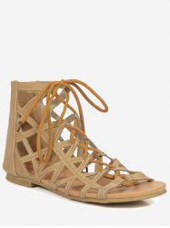 Plus Size Chic Hollow Out Cross Strap Lace Up Sandals -