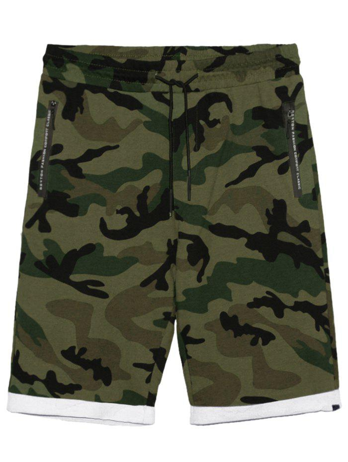 Cheap Zip Pockets Camo Panel Casual Shorts