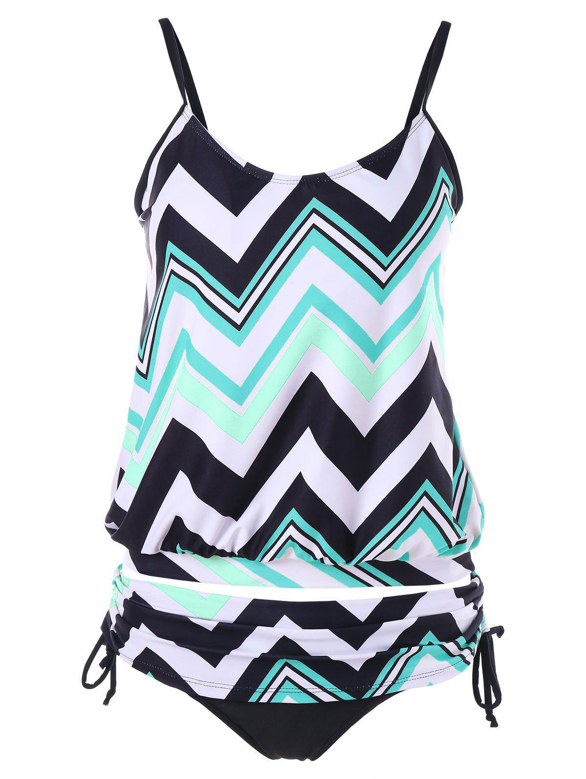 Buy Zigzag Ruched Blouson Tankini Set