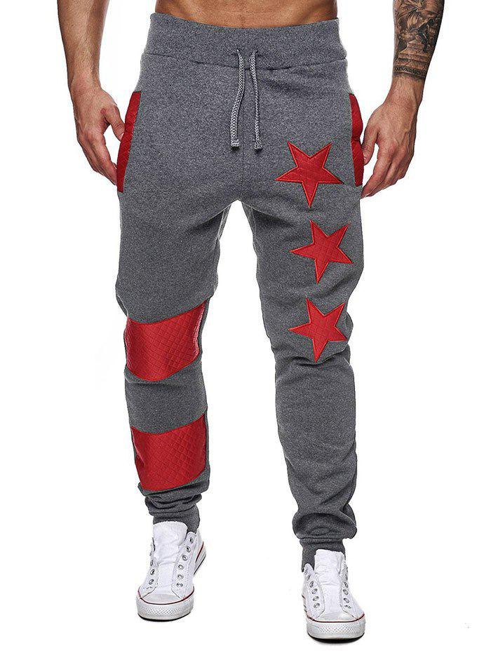 Trendy Narrow Feet Contrast Color Star Jogger Pants
