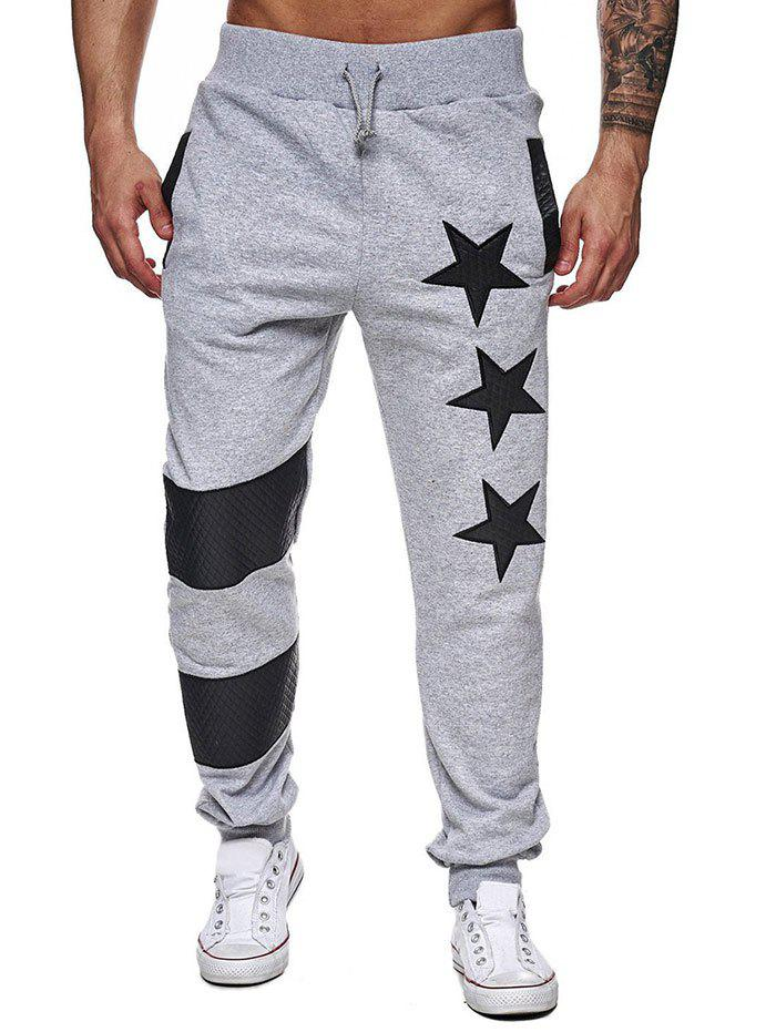 New Narrow Feet Contrast Color Star Jogger Pants