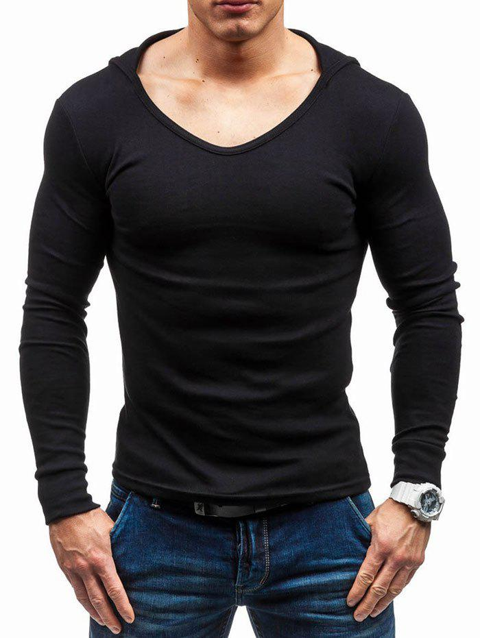Fancy Solid Color Hooded Long Sleeve T-shirt