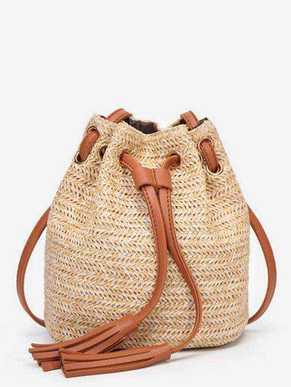 Discount String Straw Tassels Decorated Color Block Crossbody Bag
