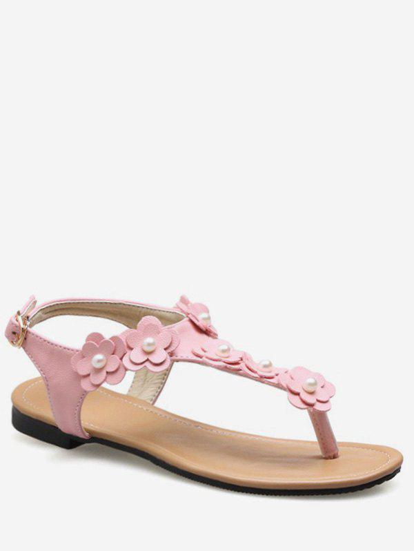Cheap Plus Size Buckled Flat Heel Flower Leisure Thong Sandals