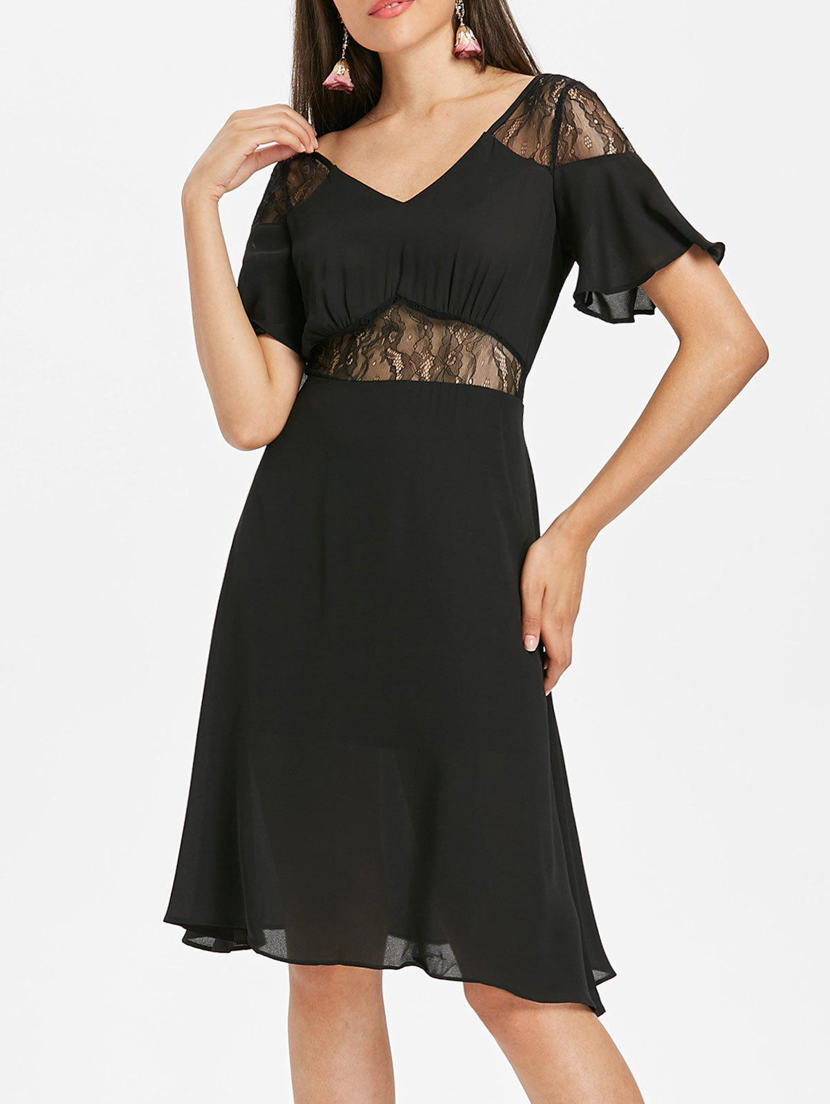 Latest Lace Panel Knee Length Dress