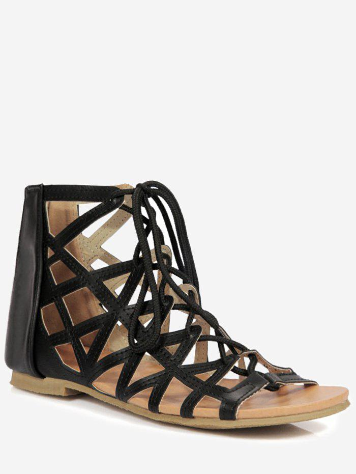 Chic Plus Size Chic Hollow Out Cross Strap Lace Up Sandals