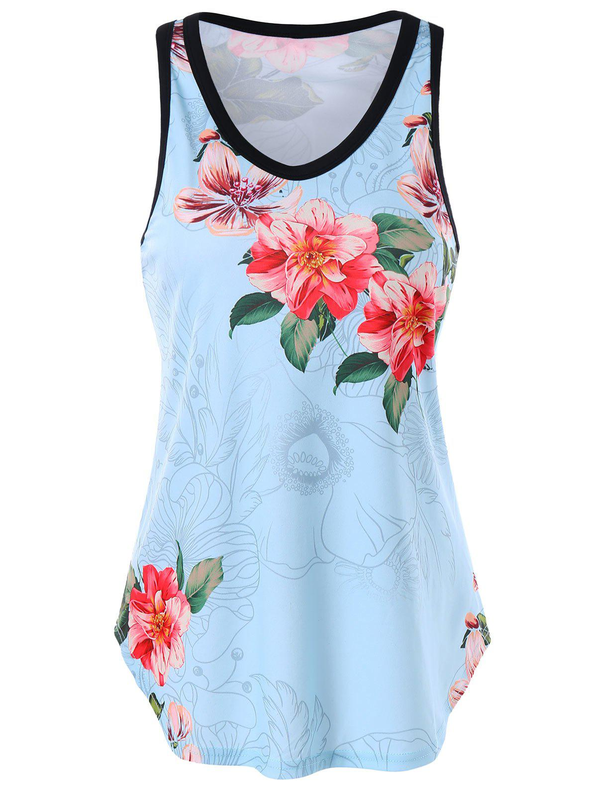 Chic Floral Trapeze Tank Top
