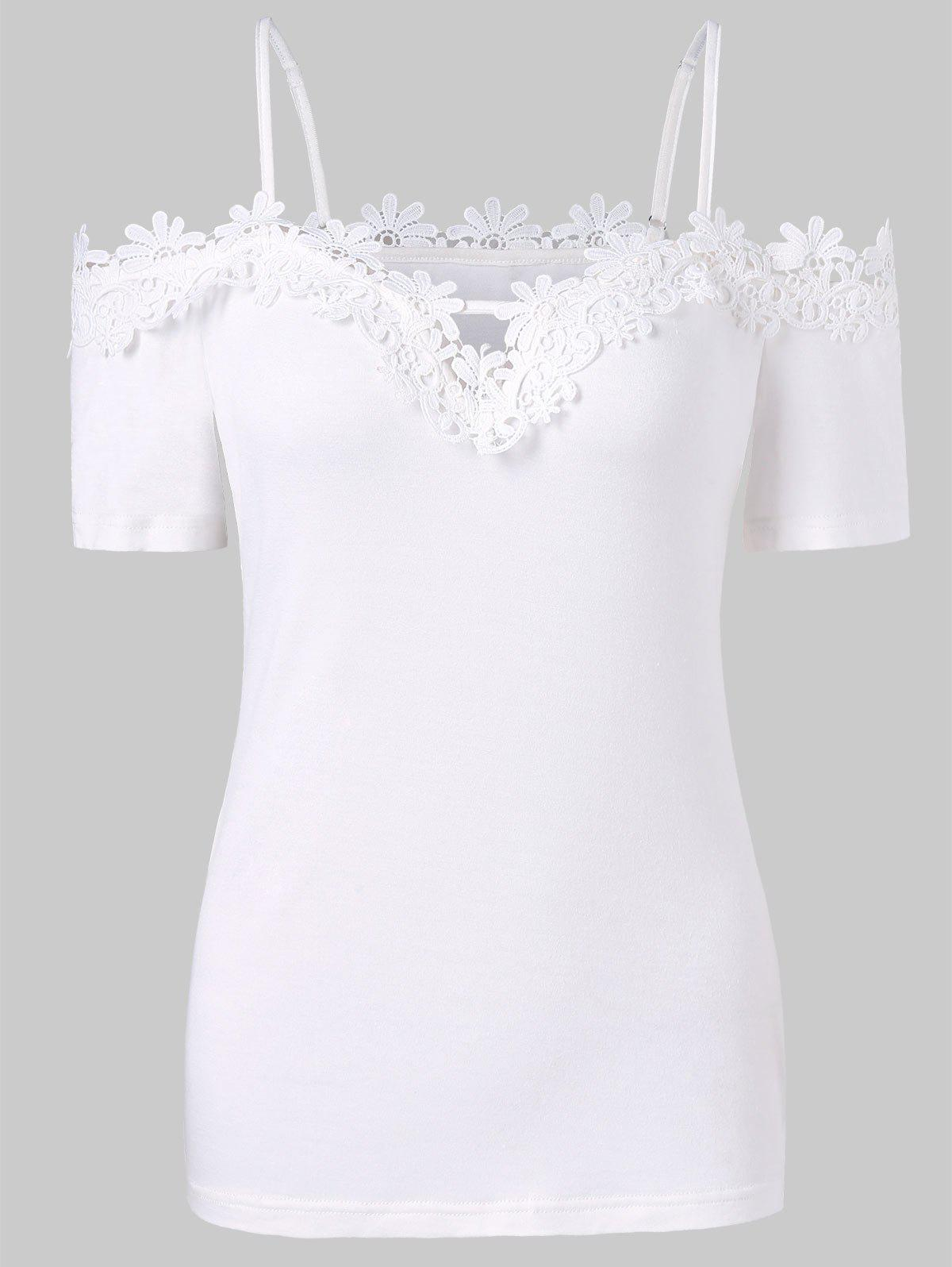 Outfits Lace Applique Spaghetti Strap Tee