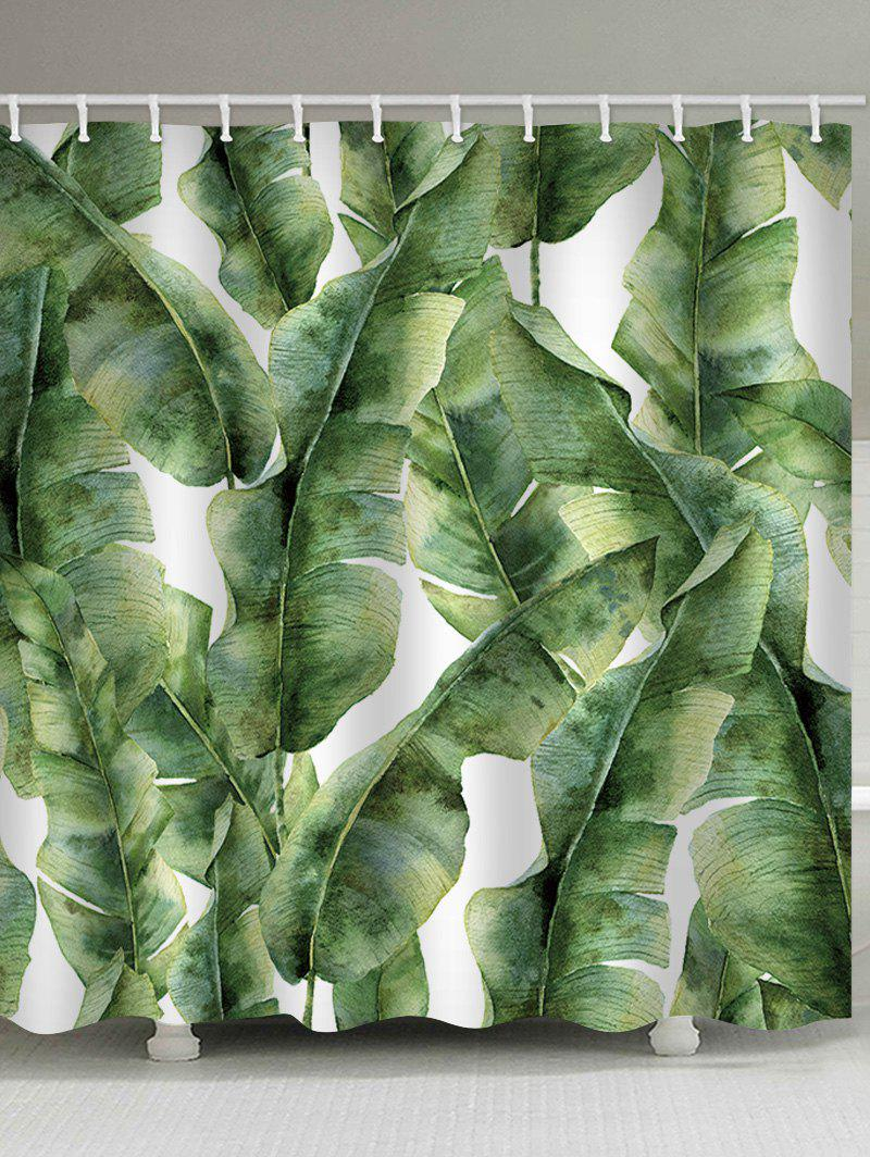 Online Banana Leaf Print Waterproof Shower Curtain