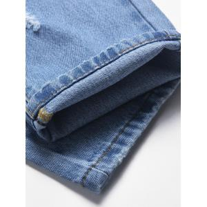 Faded Wash Destroyed Zip Fly Jeans -
