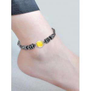 Simple Cube Beads Hematite Anklet -
