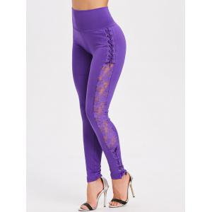 Criss Cross Sheer Lace Panel Skinny Pants -