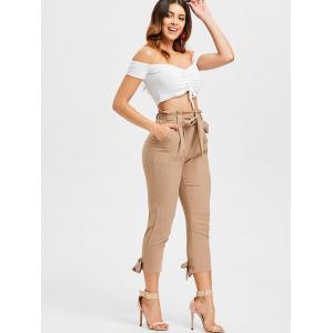 High Waisted Belted Tapered Pants -