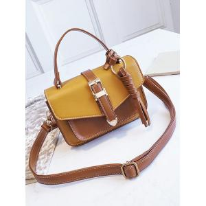 Contrasting Color Minimalist Flapped Buckled Crossbody Bag -