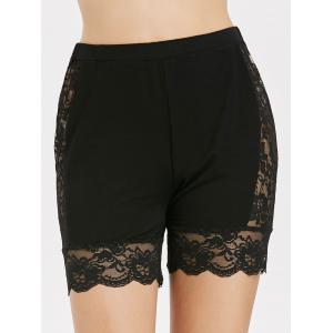 See Through Lace Insert Short Leggings -