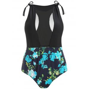 Plus Size Floral Mesh Insert Swimsuit -