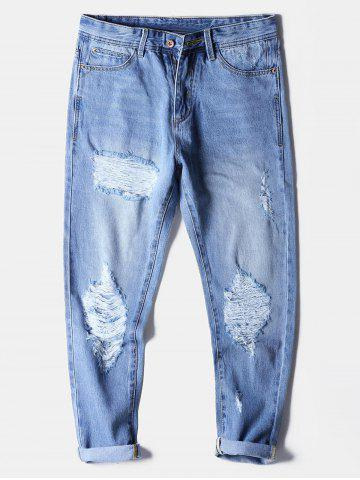 Faded Wash Destroyed Zip Fly Jeans