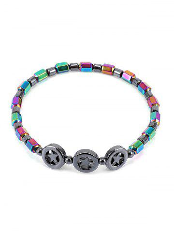 Star Colorful Beads Hematite Chain Anklet - Multi