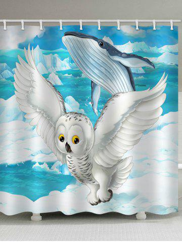 Buy Flying Owl and Jumping Whale Print Bath Decor Shower Curtain